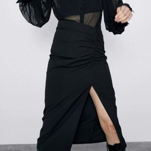 Zara Black Midi Skirt Ruched Side Slit Pencil XS